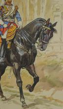 TOUSSAINT Maurice AQUARELLE ORIGINALE : CENT GARDES À CHEVAL. (7)