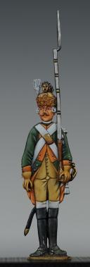 """Photo 1 : FIGURINE DEMI-RONDE BOSSE CHASSEUR À CHEVAL 1788 DU RÉGIMENT """"5e CHASSEURS""""."""