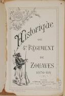 """Photo 2 :  Lt Cl DESSIRIER – """" Historique du 4ème Régiment de Zouaves 1870-88 """" - Tunis - 1888"""