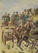 Photo 2 : TOUSSAINT MAURICE  (1882-1974), CUIRASSIERS MITRAILLEURS, 1915 :  Gravure aquarellée, XXème siècle.