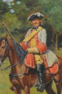 LUCIEN ROUSSELOT : HUILE SUR TOILE ORIGINALE - CAVALIER DU RÉGIMENT DE SAINT-AIGNAN, ANCIENNE MONARCHIE 1735. (3)