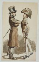 Photo 1 : « LA CONFRONTATION », AQUARELLE SIGNÉE M. BÉCHU, XXème siècle.