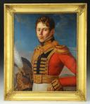DUBOIS (A) HUILE SUR TOILE PORTRAIT DE GENDARME MAISON MILITAIRE DU ROI, Restauration (1816).