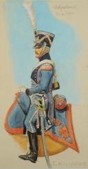 Photo 2 : ROUSSELOT Lucien, ADJUDANT DU TRAIN DES EQUIPAGES  PREMIER EMPIRE, AQUARELLE ORIGINALE.