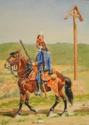Photo 5 : LUCIEN ROUSSELOT :  HUSSARDS, ANCIENNE MONARCHIE, AQUARELLE ORIGINALE, XXème SIÈCLE.