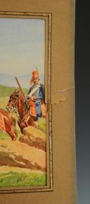 Photo 6 : LUCIEN ROUSSELOT :  HUSSARDS, ANCIENNE MONARCHIE, AQUARELLE ORIGINALE, XXème SIÈCLE.