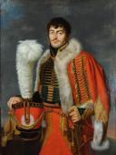 PORTRAIT de Jacques DE TROBRIANT  CHEF D'ESCADRONS DES CHASSEURS À CHEVAL DE LA JEUNE GARDE IMPÉRIALE, PREMIER EMPIRE (1813-1814) (1)