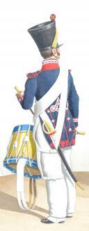 Photo 2 : 1830. Compagnies de Fusiliers Sédentaires. Fusilier, Tambour, Capitaine en Second ayant été Chef de Bataillon