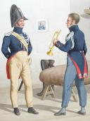 Photo 2 : 1819. Gendarmerie Royale des Départements. Gendarme en tenue d'été, Trompette en petite tenue.