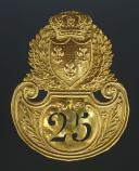 Photo 1 : PLAQUE DE SHAKO DE TROUPE DU 25ème RÉGIMENT D'INFANTERIE DE LIGNE, MODÈLE 1821, RESTAURATION.