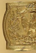 Photo 2 : PLAQUE DE CEINTURON D'OFFICIER DES GRENADIER OU CHASSEURS À PIED DE LA GARDE IMPÉRIALE, MODÈLE 1804, PREMIER EMPIRE.