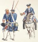 Photo 2 : Gardes françaises,  aquarelle originale par Lucien ROUSSELOT d'après un tableau exposé en 1935 à La Sabretache..