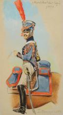 Photo 2 : ROUSSELOT Lucien, Maréchal des Logis du Train d'Artoillerie, vers 1813, Premier Empire, AQUARELLE ORIGINALE.