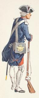 Photo 3 : Gardes françaises,  aquarelle originale par Lucien ROUSSELOT d'après un tableau exposé en 1935 à La Sabretache..