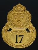 PLAQUE DE SHAKO D'OFFICIER DU 17ème RÉGIMENT D'INFANTERIE DE LIGNE, MODÈLE 1821, RESTAURATION.