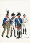 PÉTARD MICHEL, PLANCHE ORIGINALE AQUARELLÉE : ROYAUME DE PRUSSE, INFANTERIE DE LIGNE 1806, PREMIER EMPIRE.