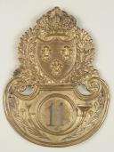 Plaque de shako d'officier du 11ème bataillon d'Infanterie Légère, modèle 1821. (1)