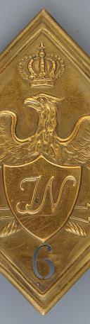 PLAQUE DE SHAKO DU 6ème RÉGIMENT D'INFANTERIE JÉRÔME NAPOLÉON, MODÈLE 1806, PREMIER EMPIRE. (2)