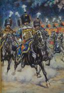 PIERRE BENIGNI, AQUARELLE ORIGINALE : DÉFILÉ DU RÉGIMENT DES GUIDES DE LA GARDE IMPÉRIALE, NAPOLÉON III, SECOND EMPIRE. (3)