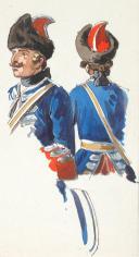 Grenadiers à cheval de la Maison du Roi 1738,  2 aquarelles originales par Lucien ROUSSELOT d'après un tableau de PARROCEL conservé au musée du Louvre. (4)