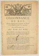 ORDONNANCE DU ROY, portant règlement pour le payement des Troupes de Sa Majesté pendant l'hiver prochain. Du premier novembre 1743. 54 pages. (1)
