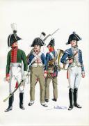 PÉTARD MICHEL, PLANCHE ORIGINALE AQUARELLÉE : ROYAUME DE PRUSSE, INFANTERIE LÉGÈRE 1806, PREMIER EMPIRE.
