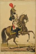 MARTINET, OFFICIER DES DRAGONS DE LA GARDE 1812 : Gravure couleurs, Premier Empire.
