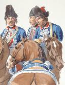 Photo 4 : Le camp des Grenadiers à cheval de la Maison du Roi pendant le siège de Tournay 1741,  3 aquarelles originales par Lucien ROUSSELOT d'après un tableau de LENFANT.