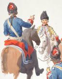 Photo 6 : Le camp des Grenadiers à cheval de la Maison du Roi pendant le siège de Tournay 1741,  3 aquarelles originales par Lucien ROUSSELOT d'après un tableau de LENFANT.