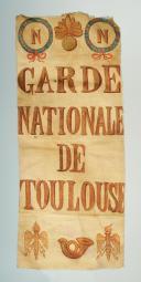 Photo 1 : FRAGMENT DE DRAPEAU DE LA GARDE NATIONALE DE TOULOUSE, PREMIER EMPIRE.