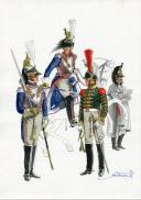 Photo 1 : PÉTARD MICHEL, PLANCHE ORIGINALE AQUARELLÉE : OFFICIERS DE CUIRASSIERS ET TROMPETTES AU RÈGLEMENT DE 1812, PREMIER EMPIRE.