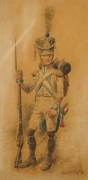 Photo 2 : ORANGE MAURICE, CAPORAL DES GRENADIERS DE LA GARDE : Gravure couleurs, Premier Empire.