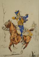 GUILLAUME REGAMAY, GRAVURE D'UN  HUSSARD À CHEVAL PREMIER EMPIRE, GRAVURE. (3)