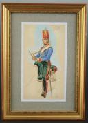 Photo 1 : ROUSSELOT Lucien, TROMPETTE DU 2nd REGIMENT D'ECLAIREUR PREMIER EMPIRE, AQUERLLE ORIGINALE.