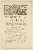 ORDONNANCE DU ROY, pour former le Régiment de Dragons du Roy, des quinze Compagnies sortant des Régimens de Dragons actuellement sur pied, conformément à l'ordonnance du 20 juillet 1743. Du 24 janvier 1744. 4 pages