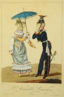 COUPLE PRUSSIEN : Gravure, vers 1840.