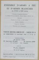 """PICARD - ADER - CHARLES - """" Ensemble d'Armes à Feu et d'Armes Blanches des XVIIIe et XIXe siècles """" - Hotel Drouot - 1969 (2)"""