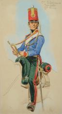 Photo 2 : ROUSSELOT Lucien, TROMPETTE DU 2nd REGIMENT D'ECLAIREUR PREMIER EMPIRE, AQUERLLE ORIGINALE.