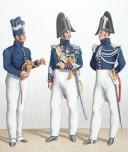 Photo 2 : 1824. Gendarmerie Royale des Départements. Gendarme à Pied, Maréchal des Logis à Cheval, Sous-Lieutenant.