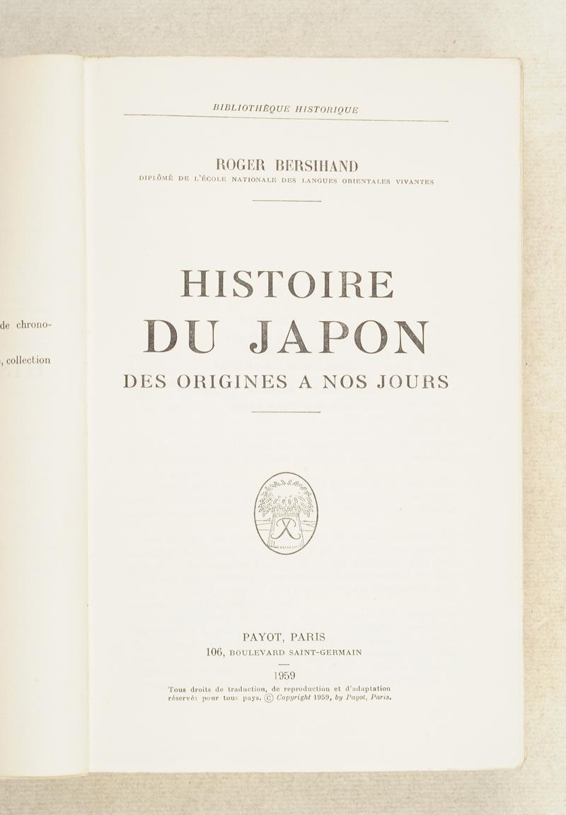 bersihand histoire du japon des origines nos jours. Black Bedroom Furniture Sets. Home Design Ideas