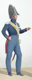 Photo 2 : 1824. Gendarmerie Royale des Départements. Gendarme à Pied, Brigadier à cheval.