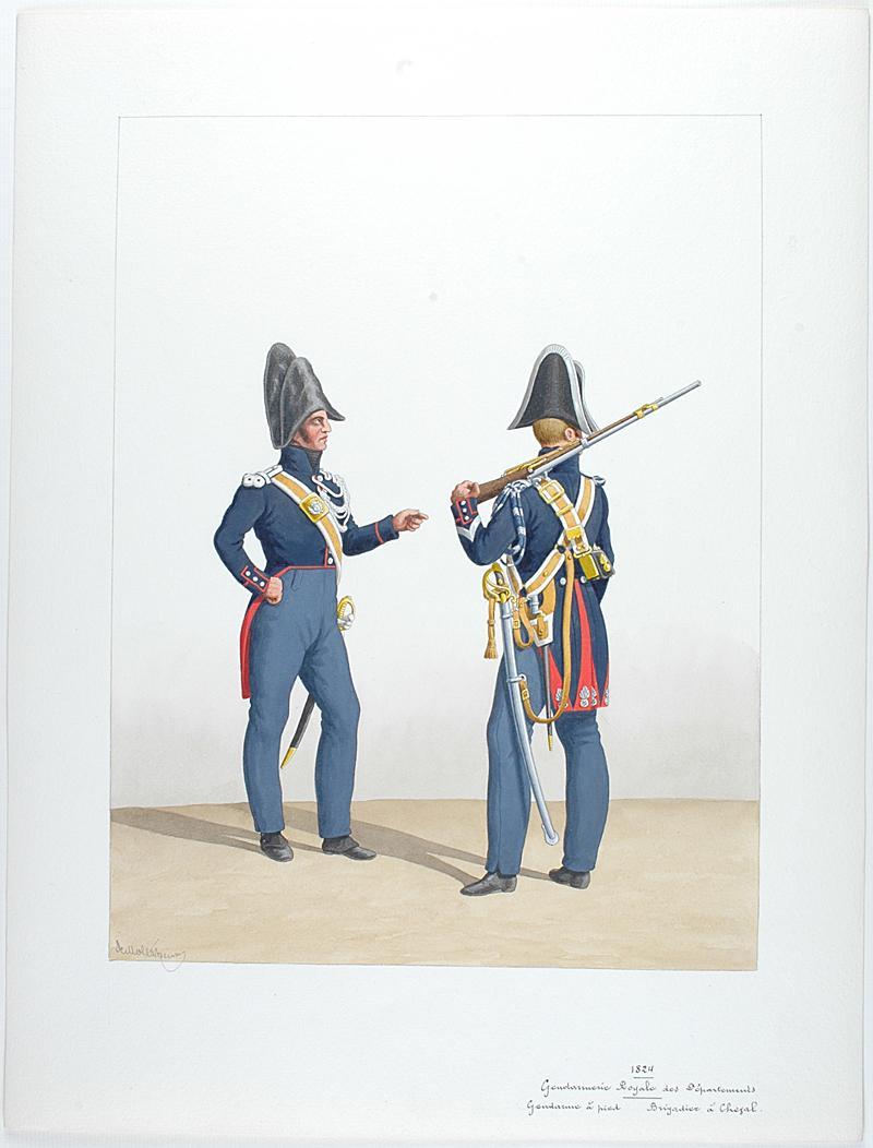 1824 gendarmerie royale des d partements gendarme pied brigadier cheval. Black Bedroom Furniture Sets. Home Design Ideas
