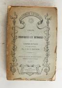 BUCHON. (J.A.C.). Choix de chroniques et mémoires sur l'histoire de France.  (1)