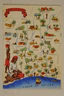 Carte postale mise en couleurs représentant la région du «COTE D'IVOIR».