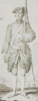 Photo 2 : GARDE FRANÇOISE par C. EISEN, gravée par LE FEHRT, ANCIENNE MONARCHIE, vers 1757.