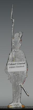"""FIGURINE DEMI-RONDE BOSSE DRAGON 1786 DU RÉGIMENT """"COLONEL GÉNÉRAL"""". (2)"""