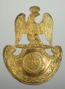 PLAQUE DE SHAKO D'OFFICIER DE GRENADIER DU 79 ème REGIMENT D'INFANTERIE DE LIGNE, MODELE 1812, PREMIER EMPIRE.