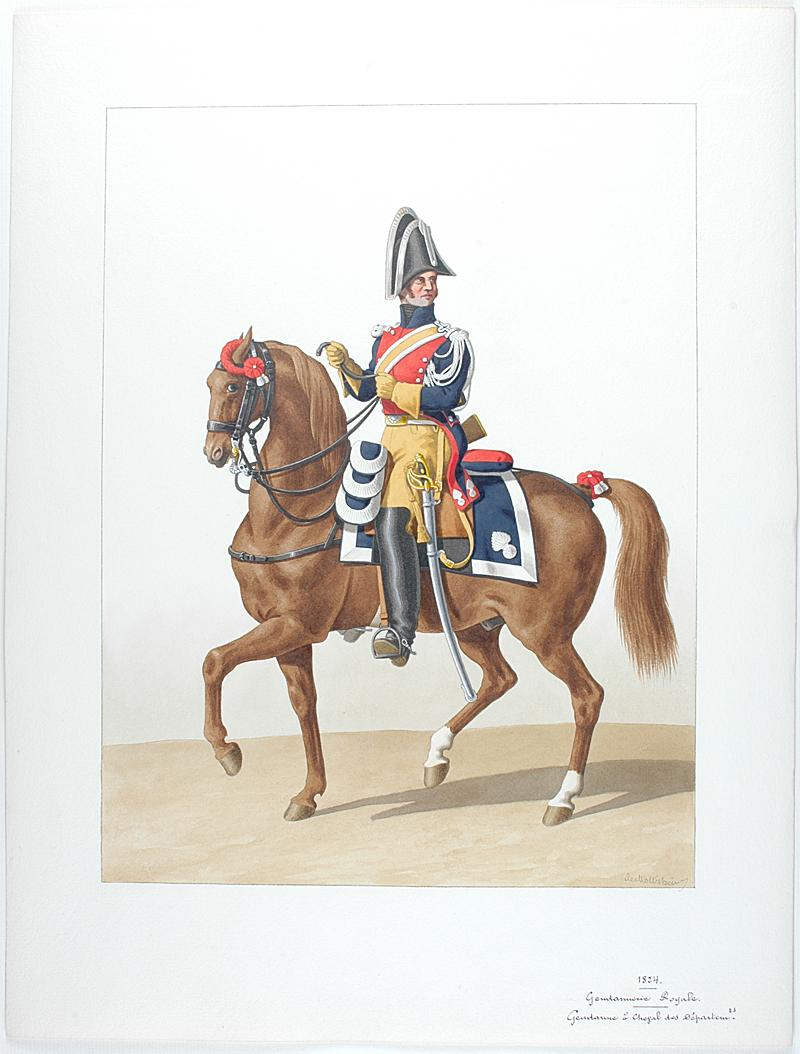 1824 gendarmerie royale gendarme cheval des d partements. Black Bedroom Furniture Sets. Home Design Ideas