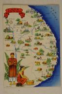 Carte postale mise en couleurs représentant la région du «LAOS ANNAM REGION SUD».