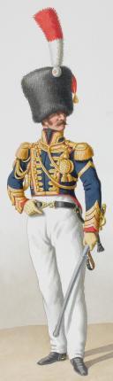 Photo 2 : 1824. Garde Royale. Artillerie à Cheval. Maréchal des Logis-Trompette, Trompette.